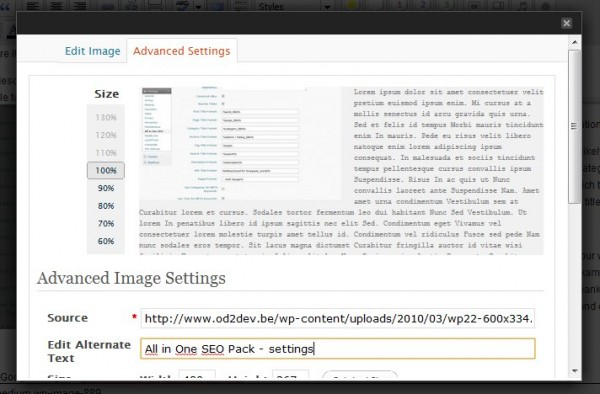 Edit alternate text field for images in WordPress
