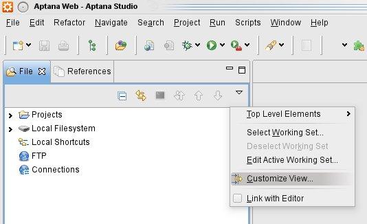 View .htaccess files in Aptana