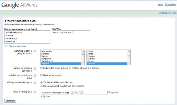Google adwords keywords tool and generator