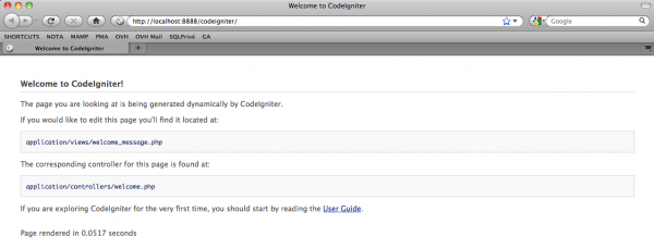 Ouvrir Codeigniter dans votre navigateur